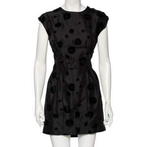 Balenciaga Black Flocked Silk Mini Dress M