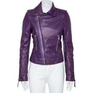 Balenciaga Purple Leather Cropped Biker Jacket M
