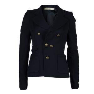 Balenciaga Paris Navy Blue Wool Double Breasted Blazer S