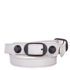Balenciaga Black/White Leather Classic Arena Wrap Bracelet
