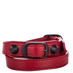 Balenciaga Red/Black Leather Classic Arena Wrap Bracelet