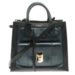 Balenciaga Blue/Black Python and Leather Padlock All Afternoon Tote
