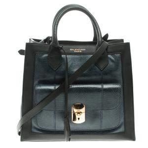 حقيبة بالنسياغا أول أفترنون جلد ثعبان أزرق/أسود وجلد بقفل