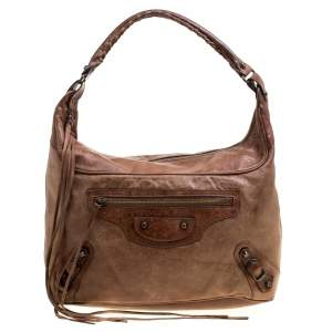Balenciaga Brown Leather Classic Day RH Hobo