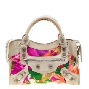 Balenciaga Multicolor Floral Satin and Leather GSH City Tote