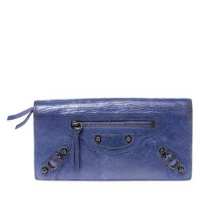 Balenciaga Purple Leather Classic Money Long Wallet