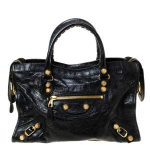 Balenciaga Black Leather Small City RH Tote