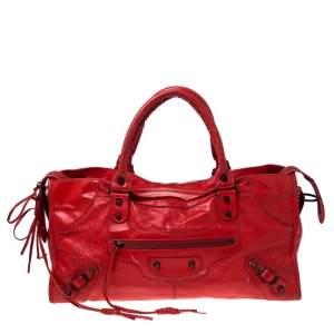 حقيبة يد بالنسياغا أر أتش بارت تايم جلد برتقالي