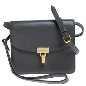 Balenciaga Grey Leather Lock AJ Crossbody Bag