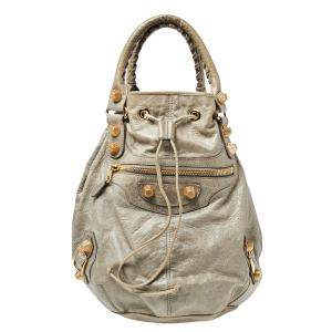 حقيبة بالنسياغا بومبون GSH 21 جلد ميلتاري بيج فاتحة