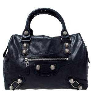 Balenciaga Black Leather Giant Hardware 21 Midday Bag