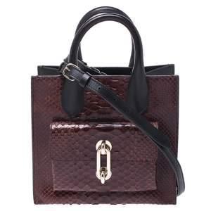 حقيبة يد بالنسياغا اول افترنون صغيرة قفل جلد وجلد ثعبان بنيه/ سوداء