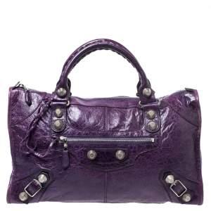 Balenciaga Violet Leather Giant 21 Work Tote