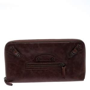 Balenciaga Dark Brown Leather Compagnon Wallet