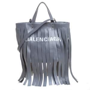 Balenciaga Grey Leather Laundry Cabas Fringe XS Tote