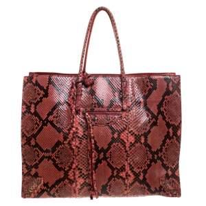 حقيبة يد بالنسياغا Papier A4 جلد ثعبان حمراء