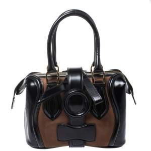 Balenciaga Black/Brown Patent Leather and Suede Sac Superb Bag