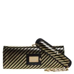 Balenciaga Black/Gold Striped Leather Oversize Chain Clutch