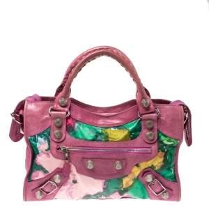 حقيبة بالنسياغا جي أس أتش جلد وساتان طباعة زهور وردية