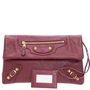Balenciaga Red Motorcross Leather Envelope Clutch