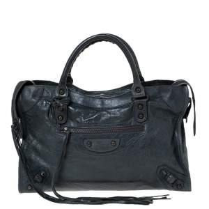 Balenciaga Anthracite Leather RH City Bag