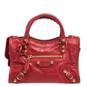Balenciaga Rouge Vif Leather Mini RGH City Bag