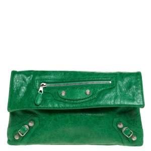 Balenciaga Vert Trefle Leather RSH Envelope Clutch