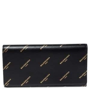 Balenciaga Black Bazar Logo Leather Flap Continental Wallet