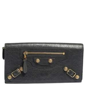 Balenciaga Grey Aged Leather Metallic Edge Flap Continental Wallet