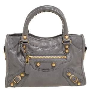 Balenciaga Gris Pyrite Leather Mini Classic City Bag
