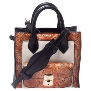 Balenciaga Tri Color Leather and Python Mini Padlock All Afternoon Tote