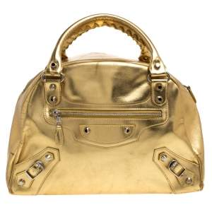 Balenciaga Gold Patent Leather Bowler PM Bag
