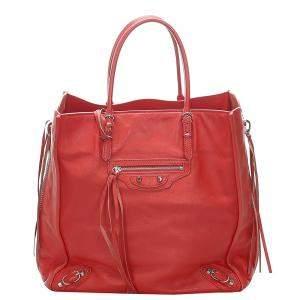 Balenciaga Red Leather  Papier A4 Tote Bag
