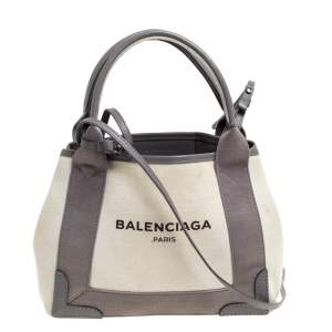 Balenciaga Grey/White Canvas and Leather XS Cabas Tote