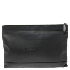 Balenciaga Black Leather Perforated Logo Pouch