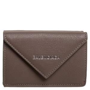 Balenciaga Dark Beige Leather Mini Papier Wallet
