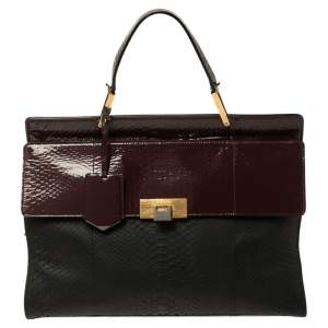 Balenciaga Black/Burgundy Python Embossed Leather and Patent Leather Le Dix Cartable Top Handle Bag