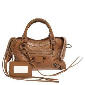 Balenciaga Brown Leather Mini Classic City Bag