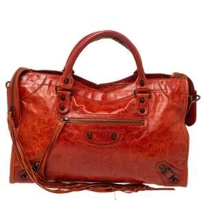 Balenciaga Vermillon Leather Classic City RH Tote