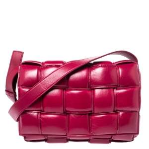 Bottega Veneta Magenta Padded Leather Cassette Crossbody Bag