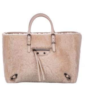 Balenciaga Pink Shearling Fur/Leather Papier A6 Bag