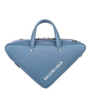 Balenciaga Blue Leather Triangle Duffel S Bag