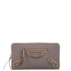 Balenciaga Brown Leather Classic Metallic Edge Continental Wallet