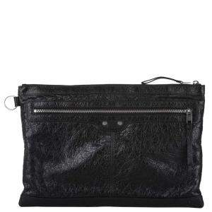Balenciaga Black Leather Classic Clip L Clutch