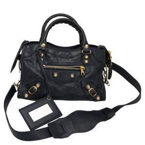 Balenciaga Navy Blue Lambskin Leather Classic City Mini Bag