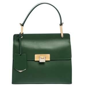 Balenciaga Green Leather Le Dix Cartable Top Handle Bag