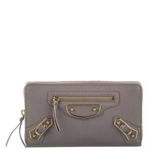 Blaenciaga Gray Leather Classic Metallic Edge Long Wallet