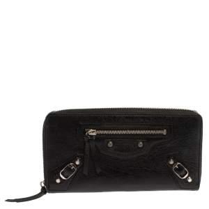 Balenciaga Black Leather City Zip Around Wallet
