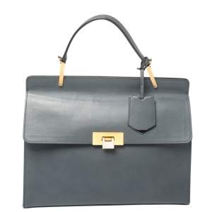 Balenciaga Ash Blue Leather Le Dix Cartable Top Handle Bag
