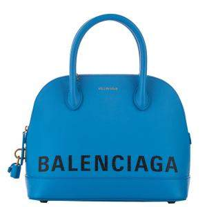 Balenciaga Blue Leather Ville AJ Satchel Bag